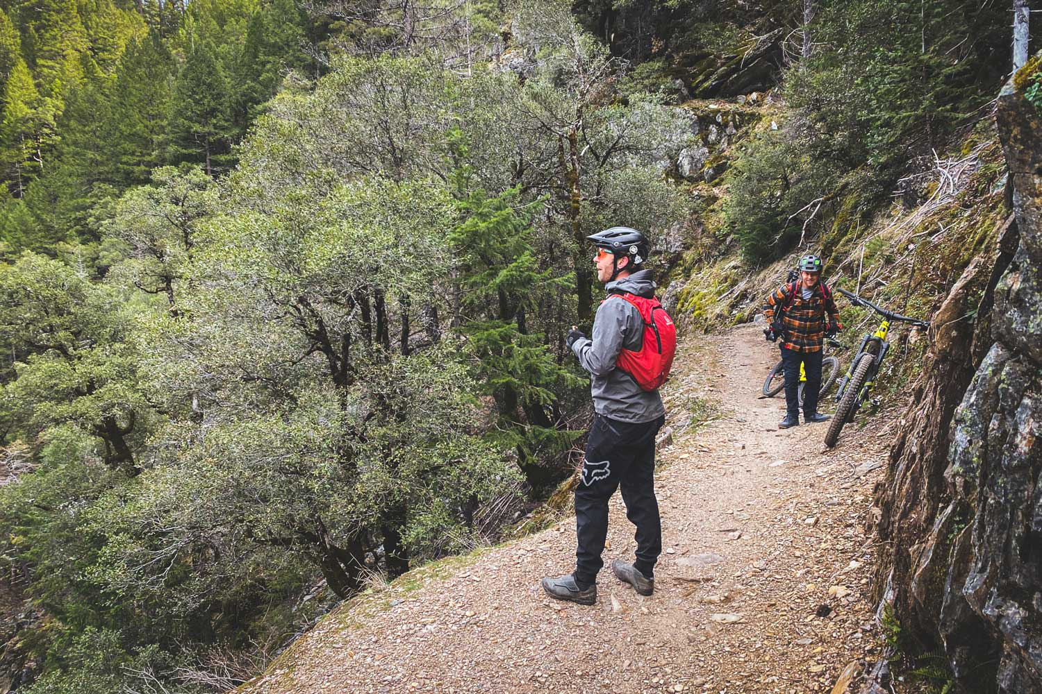 riders on trail with the Santa Cruz Heckler