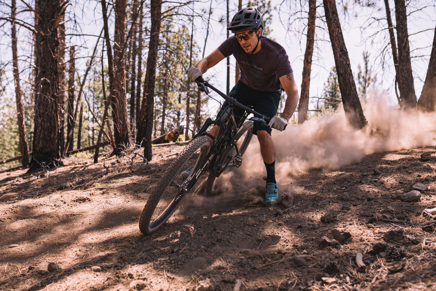 Rider fish tailing on the Specialized Epic Evo S-Works