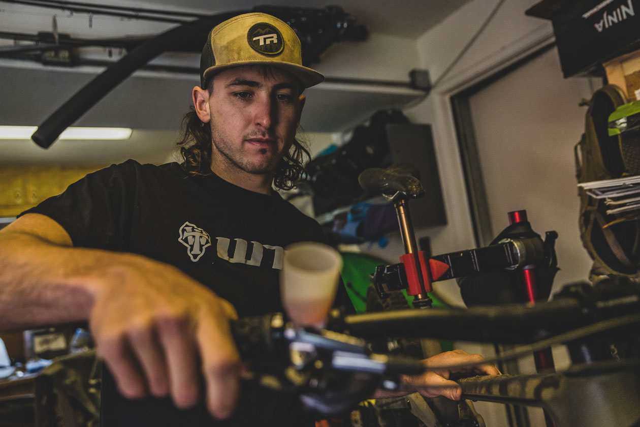 A quick Shimano lever bleed for the new Transition. Photo by Ryan Cleek